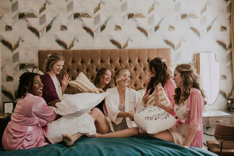 Bride & Bridesmaids On Morning Of Wedding / Image By Nataly J Photography