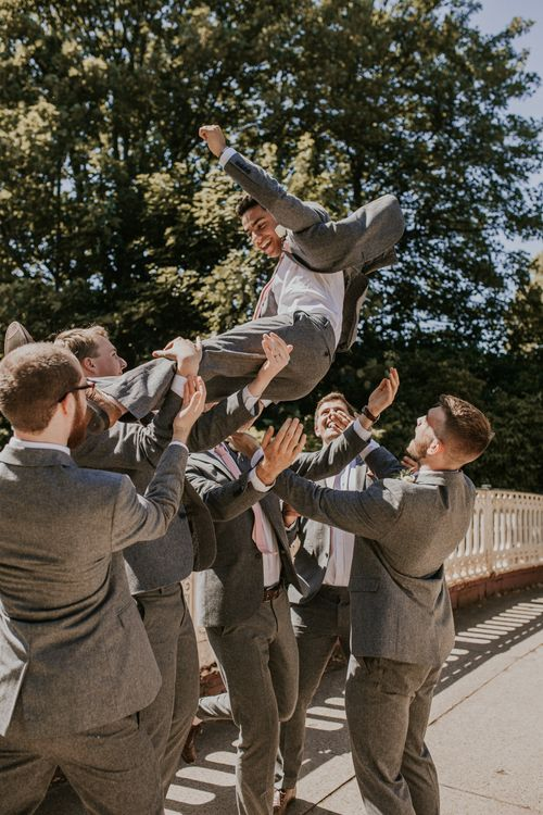 Groom & Groomsmen In Grey Suits From Next With Pale Pink Ties / Image By Nataly J Photography