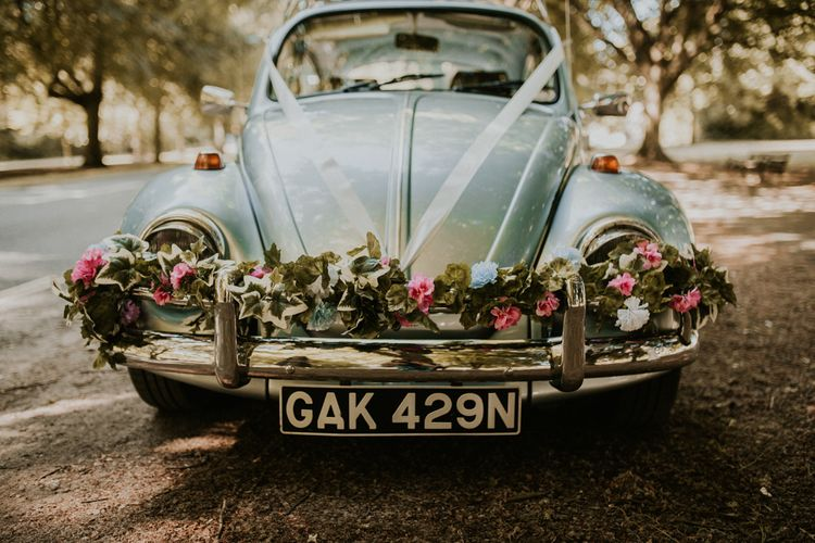 Vintage VW Beetle For A Pastel Pink Wedding At Bristol Harbour Hotel With Bridesmaids In ASOS And Images From Nataly J Photography