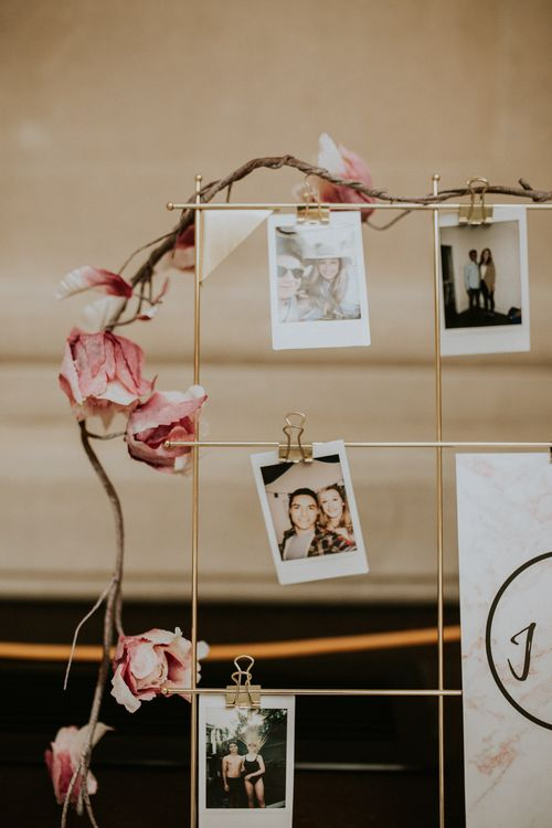 Guest Book Table For Wedding With Polaroid Camera / Image By Nataly J Photography