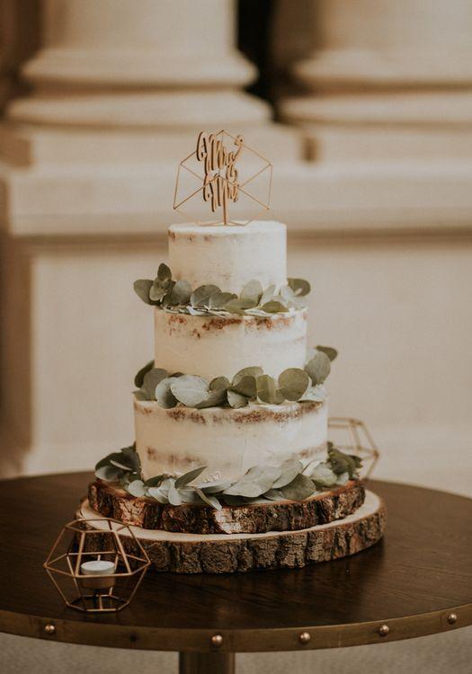 Semi Naked Buttercream Wedding Cake With Eucalyptus