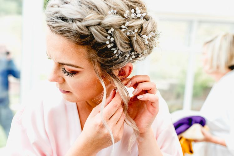 Bridal Morning Preparations | Bridal Braided Up DO with Hair Vine | Vintage Fairground at Blists Hill Victorian Town Museum in Ironbridge | Lisa Carpenter Photographer