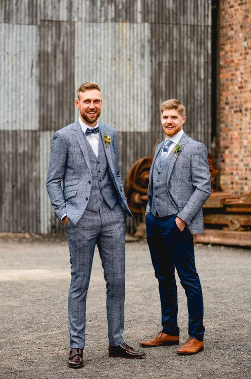 Groomsmen in Blue Check Moss Bros. Suits | Vintage Fairground at Blists Hill Victorian Town Museum in Ironbridge | Lisa Carpenter Photographer