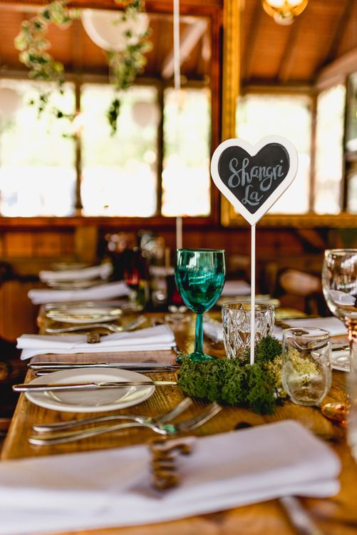 Wedding Reception Decor | Chalkboard Table Name| Ivy | coloured Goblets | Wedding Bunting | Vintage Fairground at Blists Hill Victorian Town Museum in Ironbridge | Lisa Carpenter Photographer