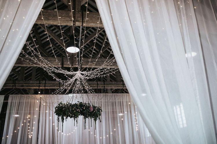 Drapes and Fairy Lights Wedding Venue Decor