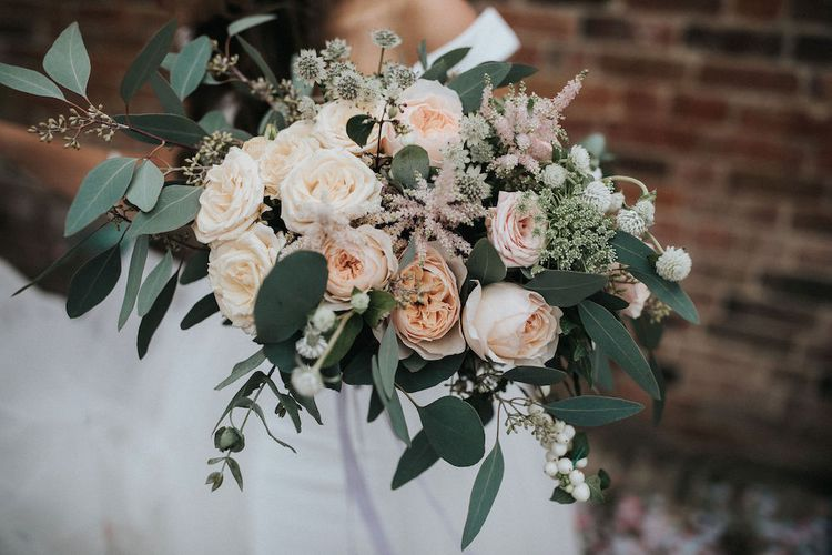Foliage and Peach Flower Bridal Bouquet with Eucalyptus and Roses