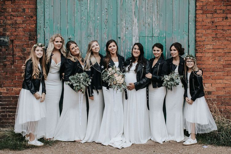 Bridal Party in White Dresses and Leather Jackets