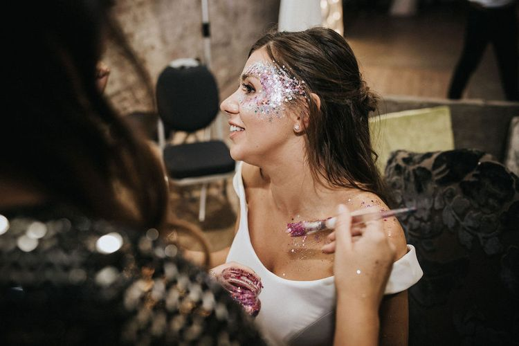Bride with Glitter Face Paint