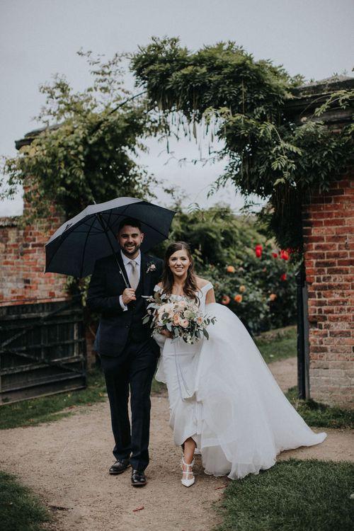 Bride and Groom Under an Umbrella Wedding Picture