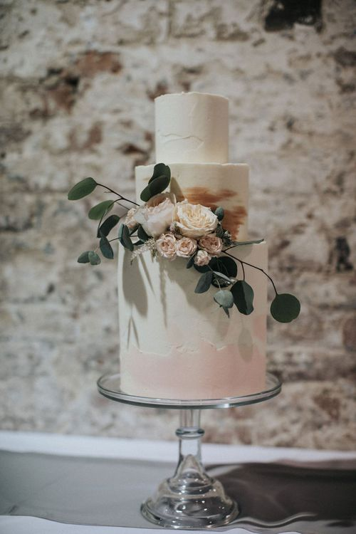 Elegant Wedding Cake with Tall Bottom Layer