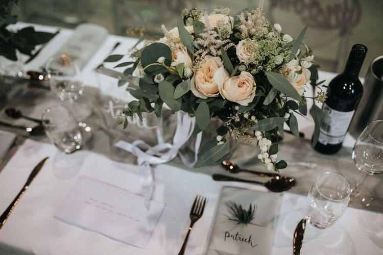 Elegant Table Centrepiece with Eucalyptus and Peach Rose Floral Decor