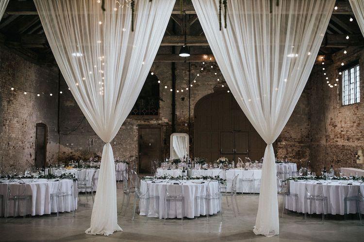 Hanging Drapes Wedding Reception Decor