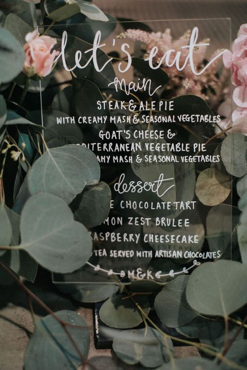 Acrylic 'Let's Eat' Menu Sign with White Calligraphy Font