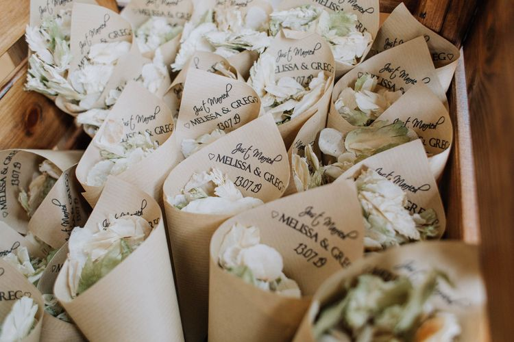 Box of personalised confetti cones for Brickhouse Vineyard wedding