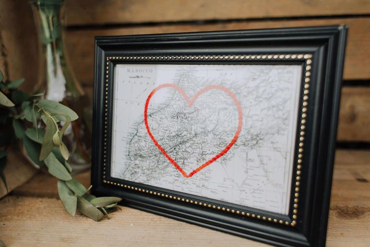 Framed map with giant heart
