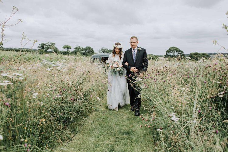 Wedding ceremony bridal entrance at Brickhouse Vineyard