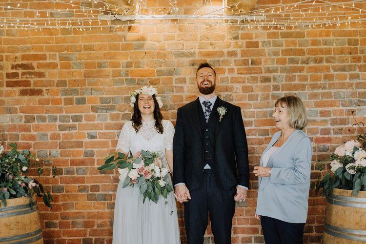 Bride and groom just married at Brickhouse Vineyard wedding ceremony