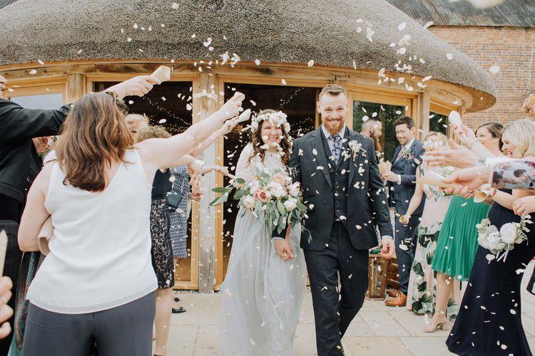 Confetti moment at Brickhouse Vineyard wedding