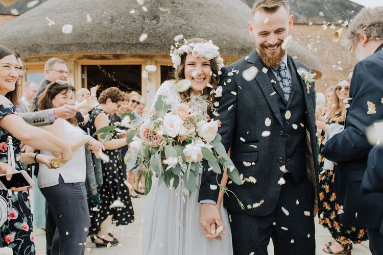 Bride and Groom confetti exit at Brickhouse Vineyard