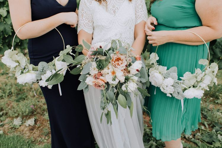 Bridal bouquet and bridesmaid hoops