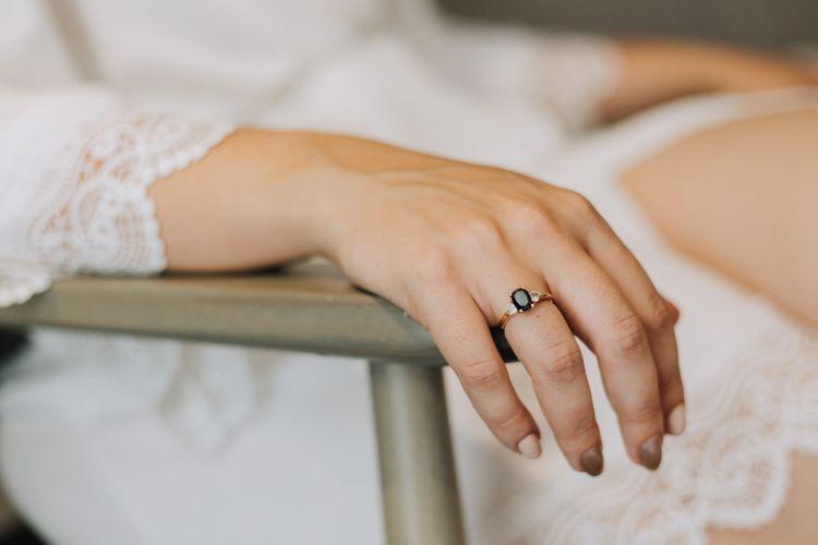 Black diamond engagement ring and wedding nails