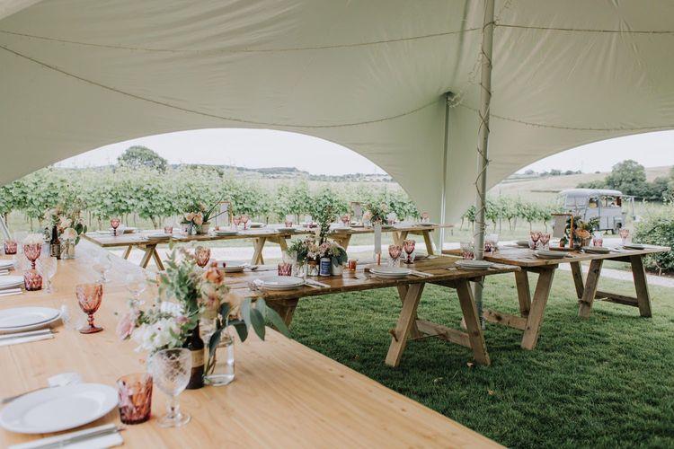 Outdoor stretch tent reception at Brickhouse Vineyard, Devon