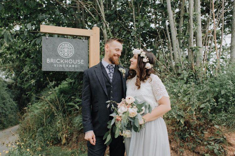 Bride and groom portrait at Brickhouse Vineyard wedding venue