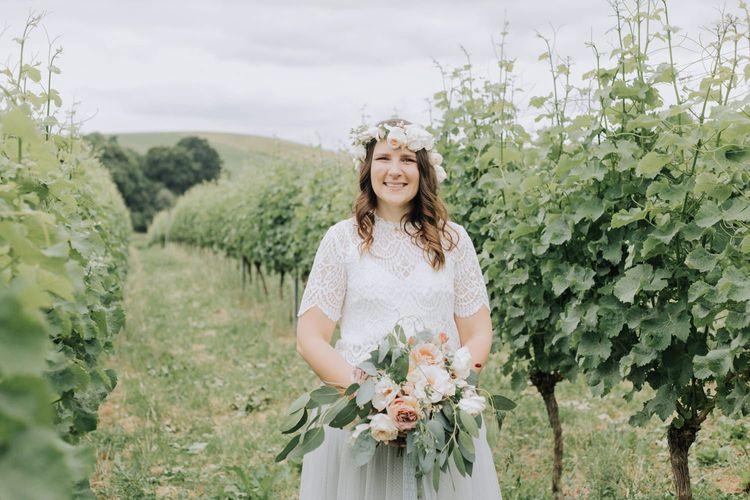 Beautiful boho bride in bridal separates at Brickhouse Vineyard