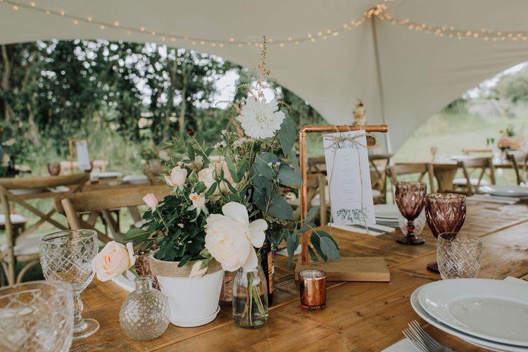 Flower pot centrepieces and copper frame menu card holder