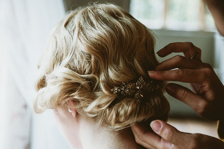 1920s Inspired Bridal Hairstyle with Finger Waves and Jewel Comb