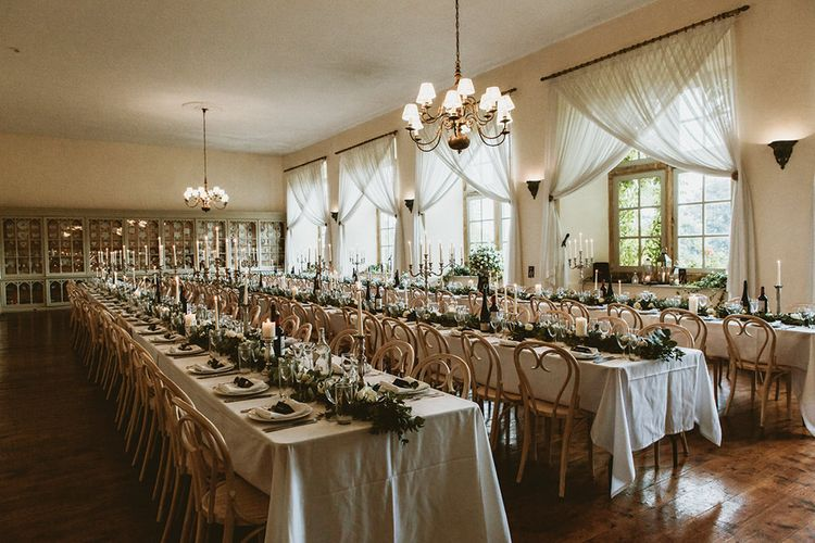 Brympton House Wedding Reception with Candelabra Centrepieces