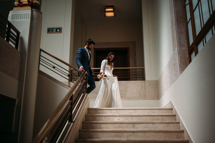 Hackney Town Hall Wedding Ceremony   Bride in Reformation Dress   Groom in Blue Richard James Suit   Stylish City Wedding    Joanna Bongard Photography