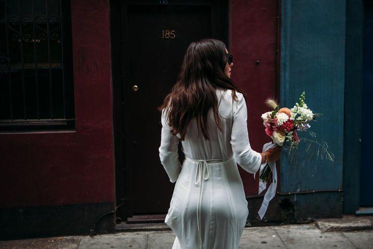 Bride in Reformation Dress   Stylish City Wedding    Joanna Bongard Photography