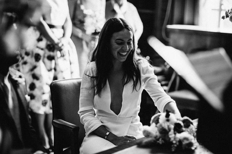 Hackney Town Hall Wedding Ceremony   Bride in Reformation Dress   Stylish City Wedding    Joanna Bongard Photography
