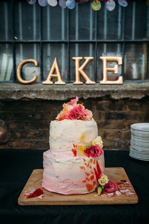 Homemade Pink Ombre Wedding Cake   Stylish City Wedding at Bow Arts  Courtyard   Marble Stationery, Wild Flowers & Tissue Tassels Decor   Joanna Bongard Photography
