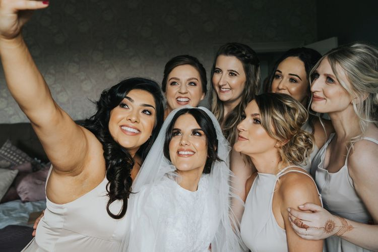 Bridal preparations for civil ceremony at Hornington Manor
