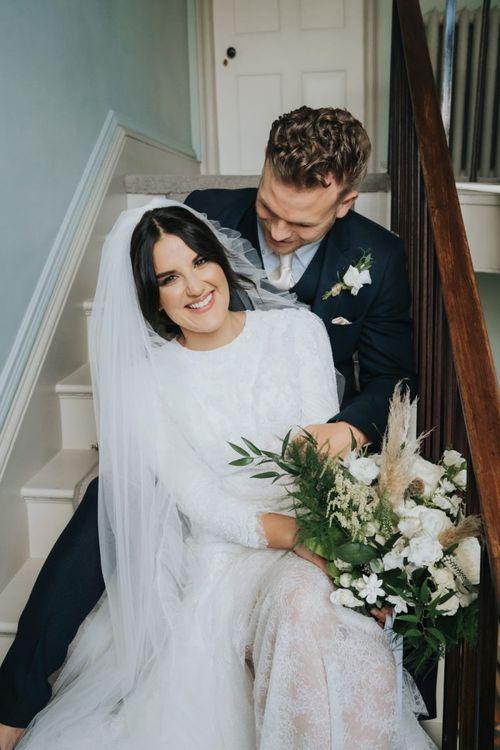 Bride and groom after wedding ceremony