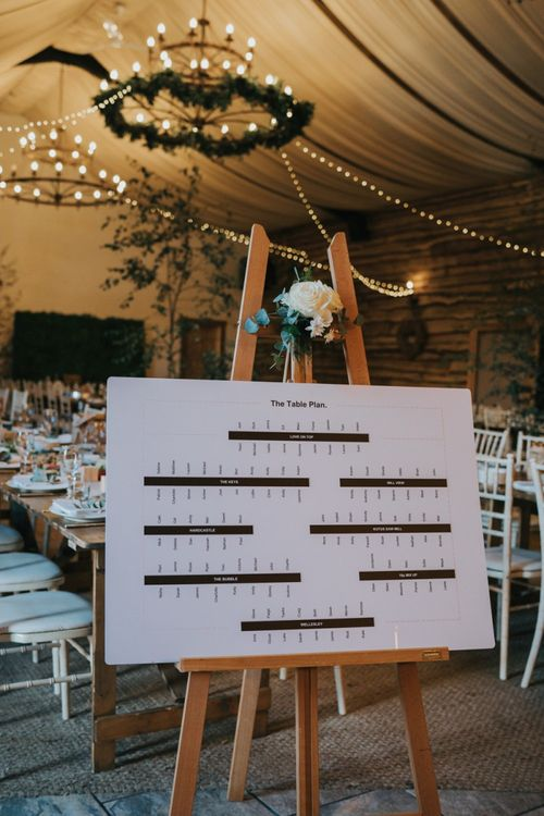 Seating chart for garden party theme wedding breakfast
