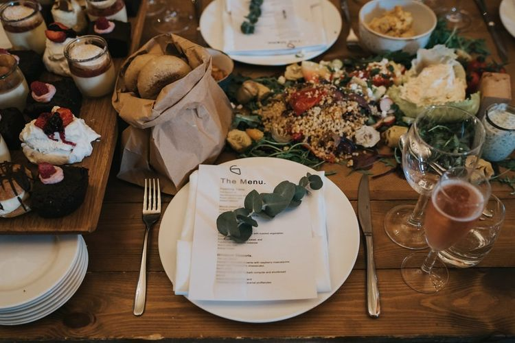 Sharing platters for guests at wedding breakfast after civil ceremony