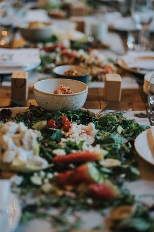 Sharing platters for guests at wedding breakfast in Yorkshire
