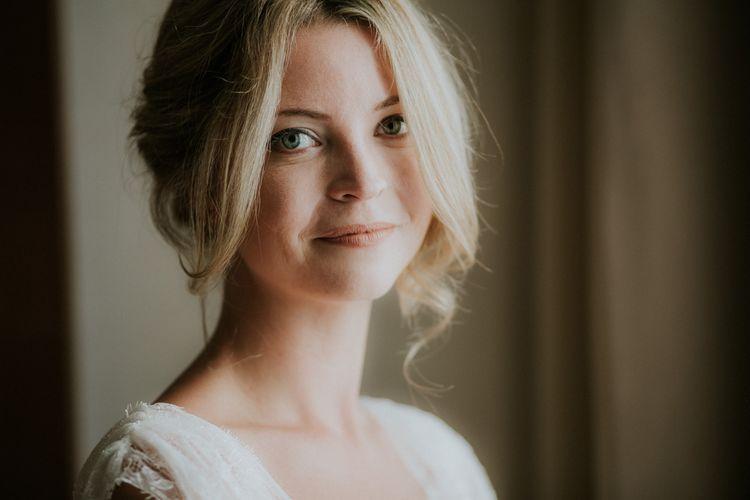 Natural Bridal Makeup and Pinned Bridal Updo