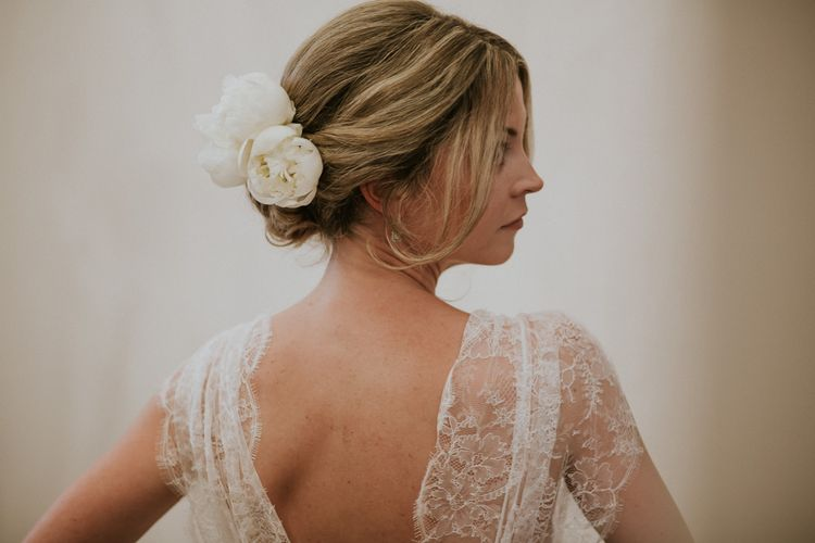 Bridal Up do with Fresh Flowers