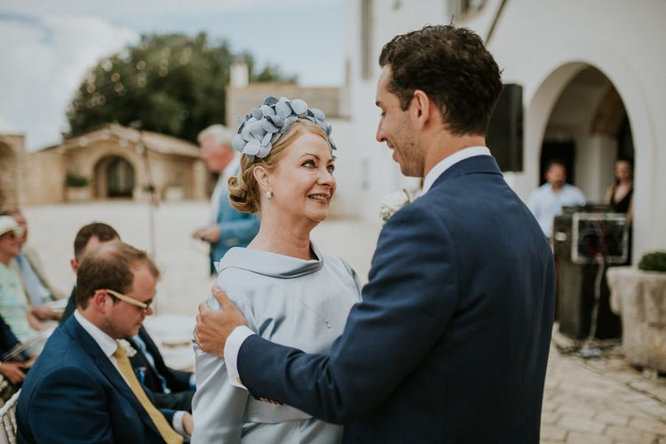 Mother of The Bride in Powder Blue Dress and Matching  Floral Headdress