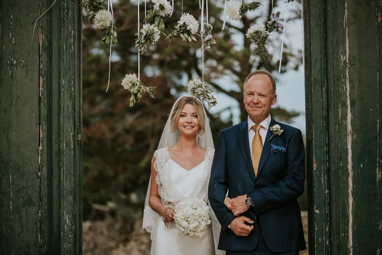 Wedding Ceremony Bridal Entrance in Halfpenny Wedding Dress  with Father of the Bride