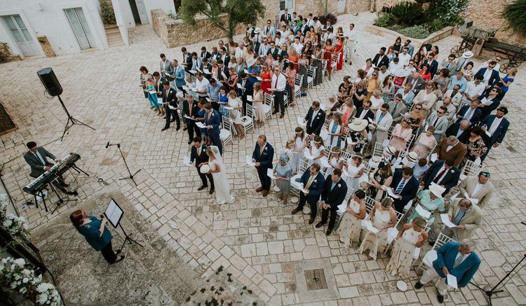 Italian Destination Wedding Outdoor Ceremony at Masseria Borgo Mortella, Lecce