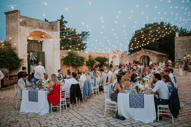 Italian Outdoor Wedding Reception with Festoon Light Canopy