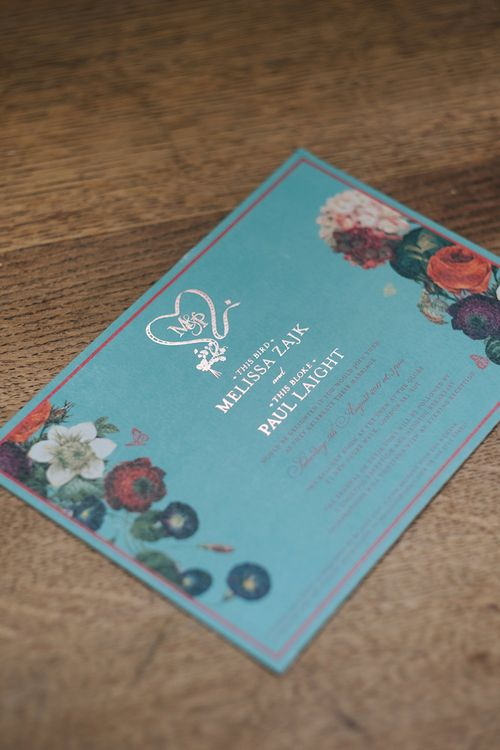 Duck Egg Blue Wedding Invitation with Silver Foil | Meringue Kisses & Colourful Wedding Flowers & Stationery for a London Wedding at The Globe | Miss Gen