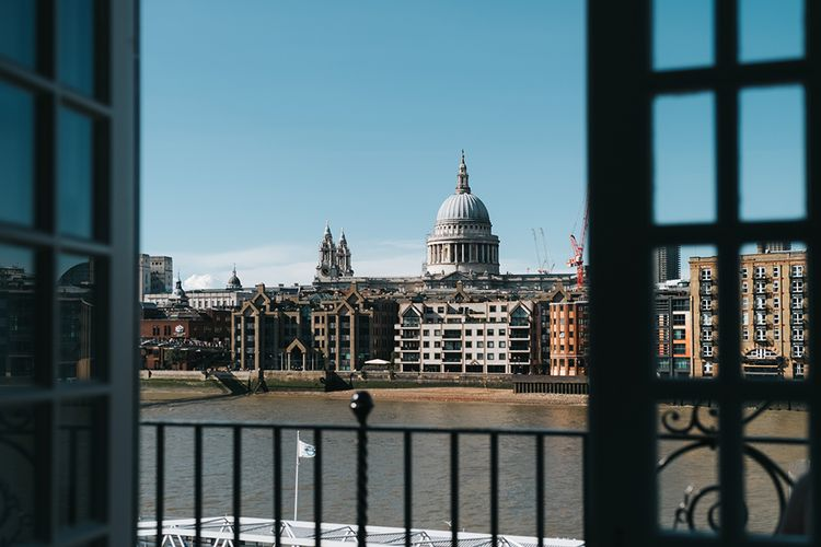 View of River Thames and St Paul's Cathedral from The Swan at The Globe | Meringue Kisses & Colourful Wedding Flowers & Stationery for a London Wedding at The Globe | Miss Gen