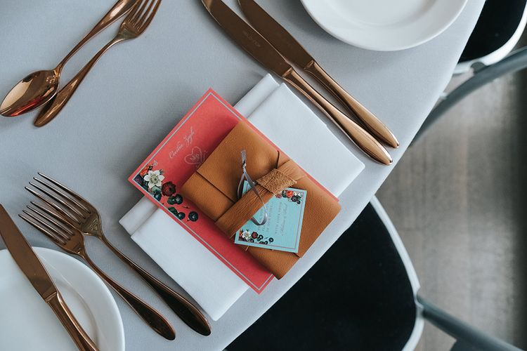 Copper Cutlery | Leather Book Wedding Favour | Personalised Pink Wedding Breakfast Menu | Duck Egg Blue Thank You Tag | Meringue Kisses & Colourful Wedding Flowers & Stationery for a London Wedding at The Globe | Miss Gen