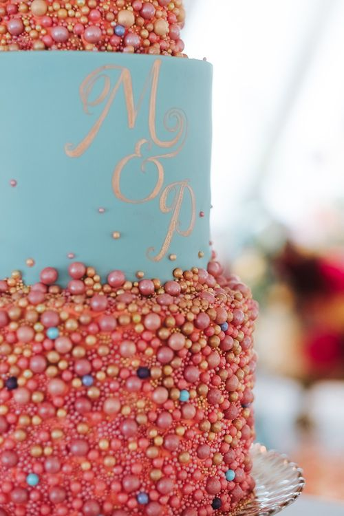 Colourful Three-Tier Wedding Cake with  Duck Egg Blue Icing, Gold Foil Monogram and Pink and Gold Beaded Detail | Meringue Kisses & Colourful Wedding Flowers & Stationery for a London Wedding at The Globe | Miss Gen